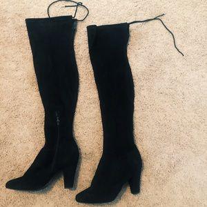 Thigh High Black Velvet Boots